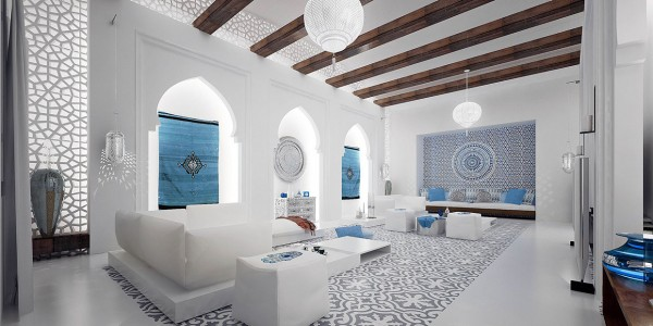 Moroccan style interior design for Arabic living room decoration