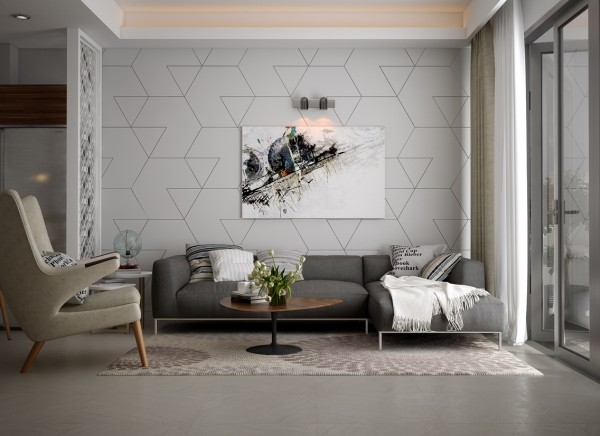 Another neutral option, the geometric pattern on this living room's accent wall stands out against the calmly colored furnishings.