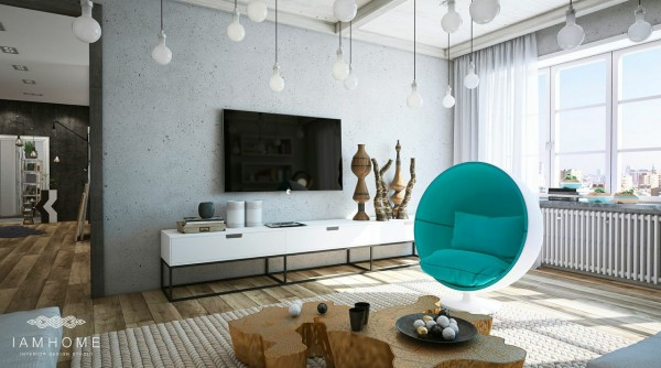The turquoise egg chair is a cozy and create place to relax away from the buzz of a party or just after a long day away from home.