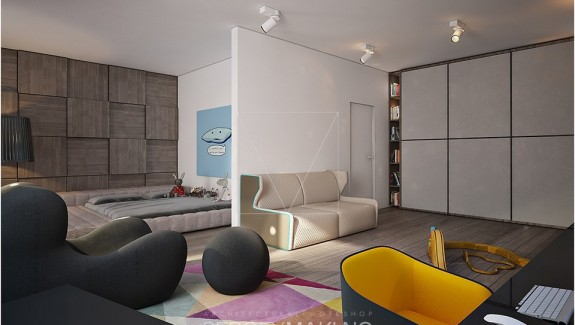 Kiev Apartment Showcases Sleek Design with Surprising Playful Elements