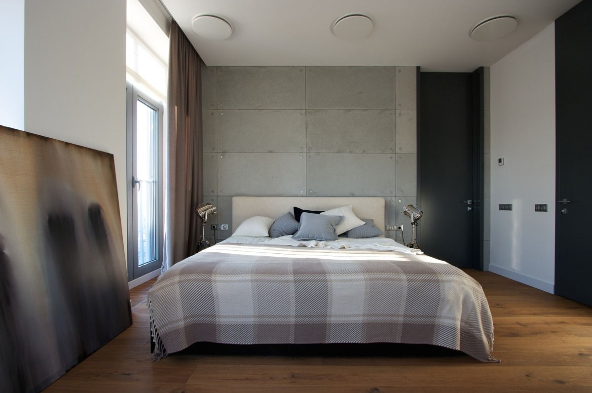 Master Bedroom Bed Against Wall