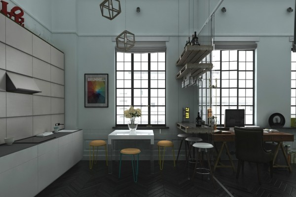 "It is interesting to note that this artist's loft is part of a three apartment 'set' in a renovated building overlooking the Neva River. This is the smaller of the three ""art apartments,"" each of which is attached by a common corridor in the building."