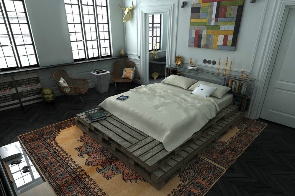 3 distinctly themed apartments under 800 square feet with for Bedroom loft plans