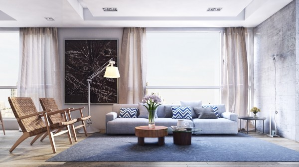 The first apartment is spacious and modern, utilizing natural materials and textures to create a warm atmosphere.