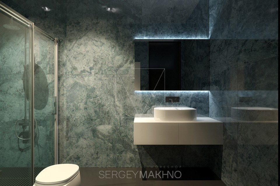 Marble Bathroom - Kiev apartment showcases sleek design with surprising playful elements