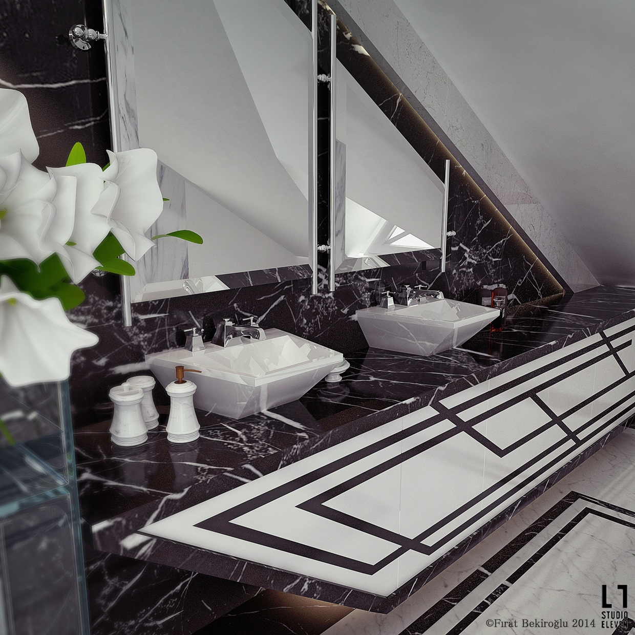 Ultra luxury bathroom inspiration for Salle de bain design noir et blanc