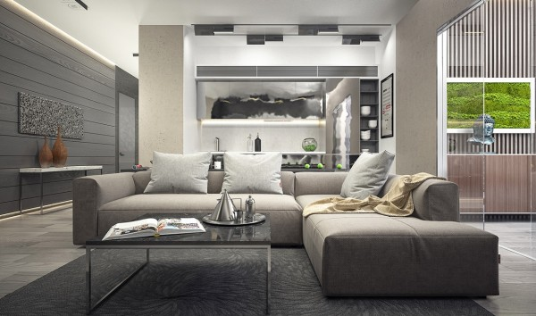 On the other hand, the living room is made up largely of right angles and straight lines, from a marble-style accent wall to an angular modern sofa and chrome coffee table.
