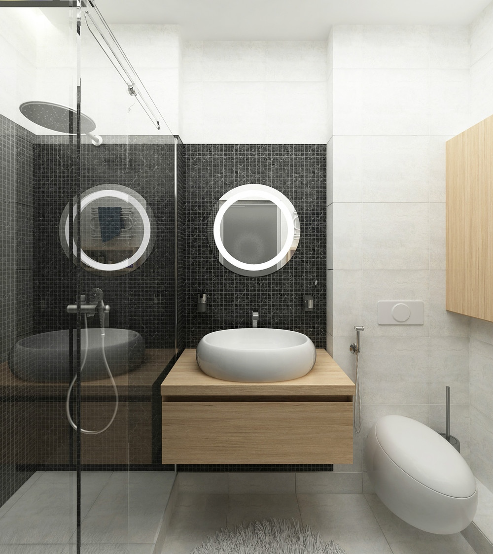 Modern Bath Design - 2 simple super beautiful studio apartment concepts for a young couple includes floor plans
