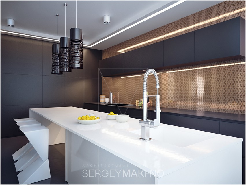 Modern Kitchen Counters - Kiev apartment showcases sleek design with surprising playful elements