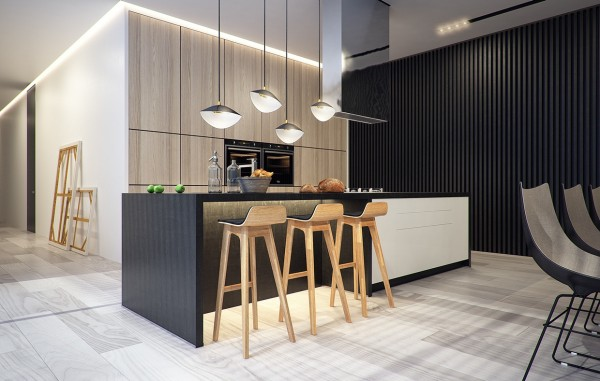 A simple kitchen area with wooden bar stools is very open and modern.