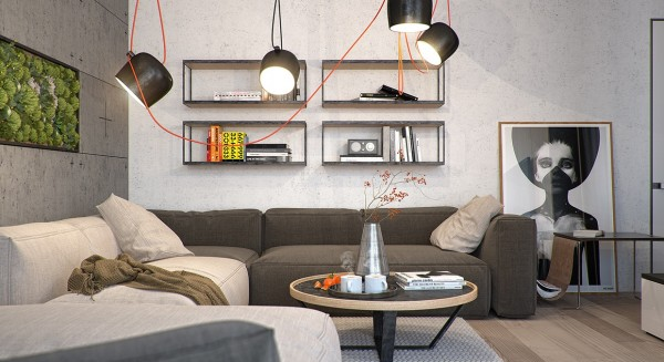 The first apartment nestles a small wall garden in the living room, amongst industrial-style concrete slabs.
