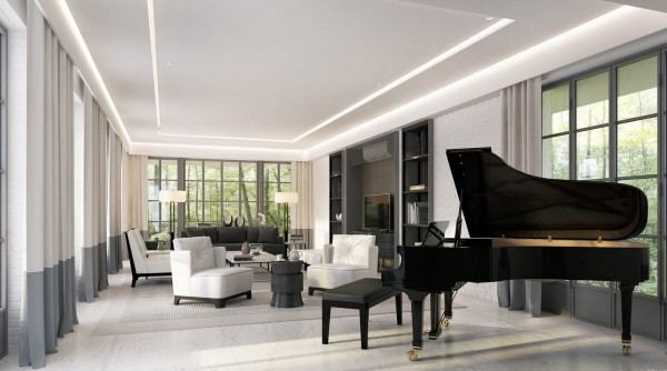 Another day, another Grand Piano. This lovely living room would have you longing to learn your scales once again.