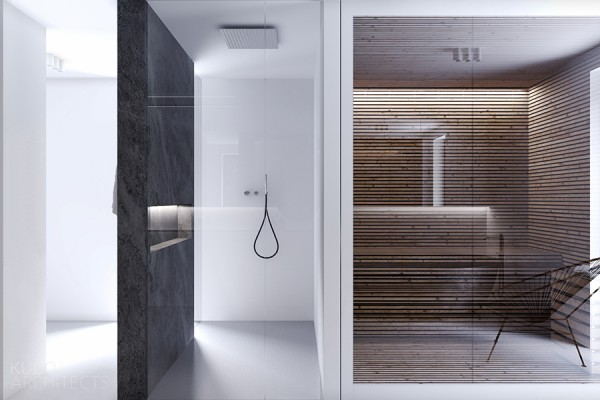 In the bathroom, white and natural wood bring a bit of warmth to the space.