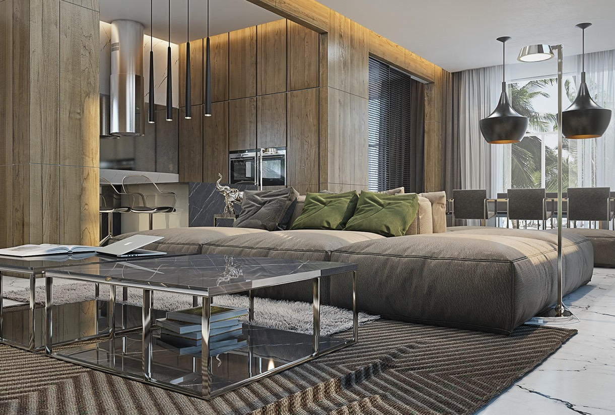 4 masculine apartments with super comfy sofas and sleek for Modern style apartment