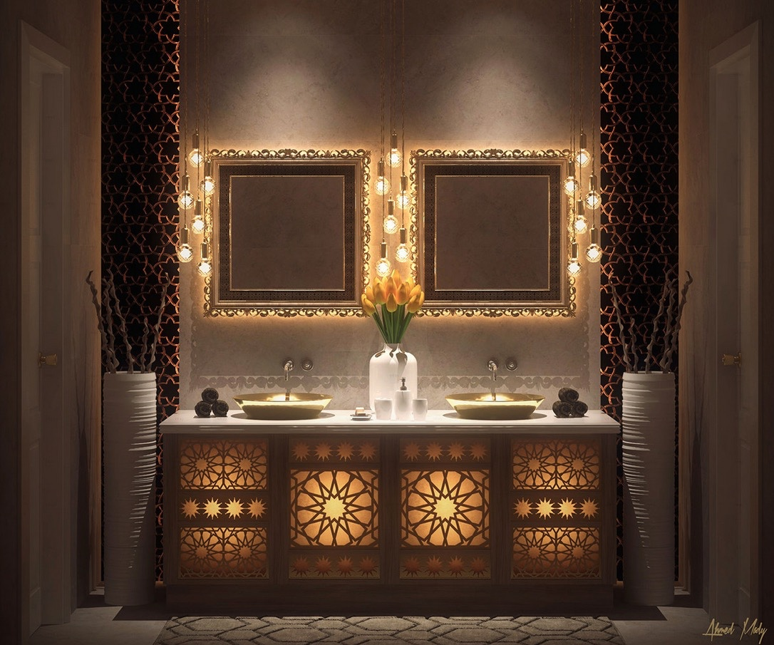 Ultra luxury bathroom inspiration - Moroccan inspired lighting ...