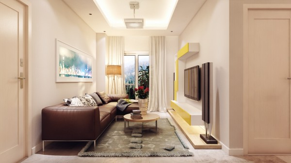 The third apartment is a bit smaller, but uses light and warm earthtones to create a more open feel.