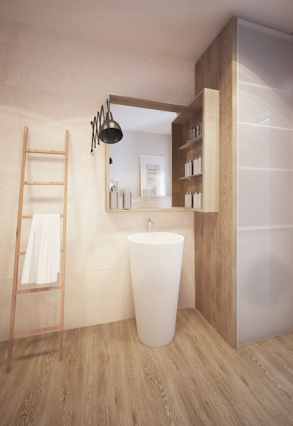 Wood floors and fixtures in the bathroom keep it from feeling sterile, but plenty of clean, white porcelain ensure it's a comfortable place to bathe.