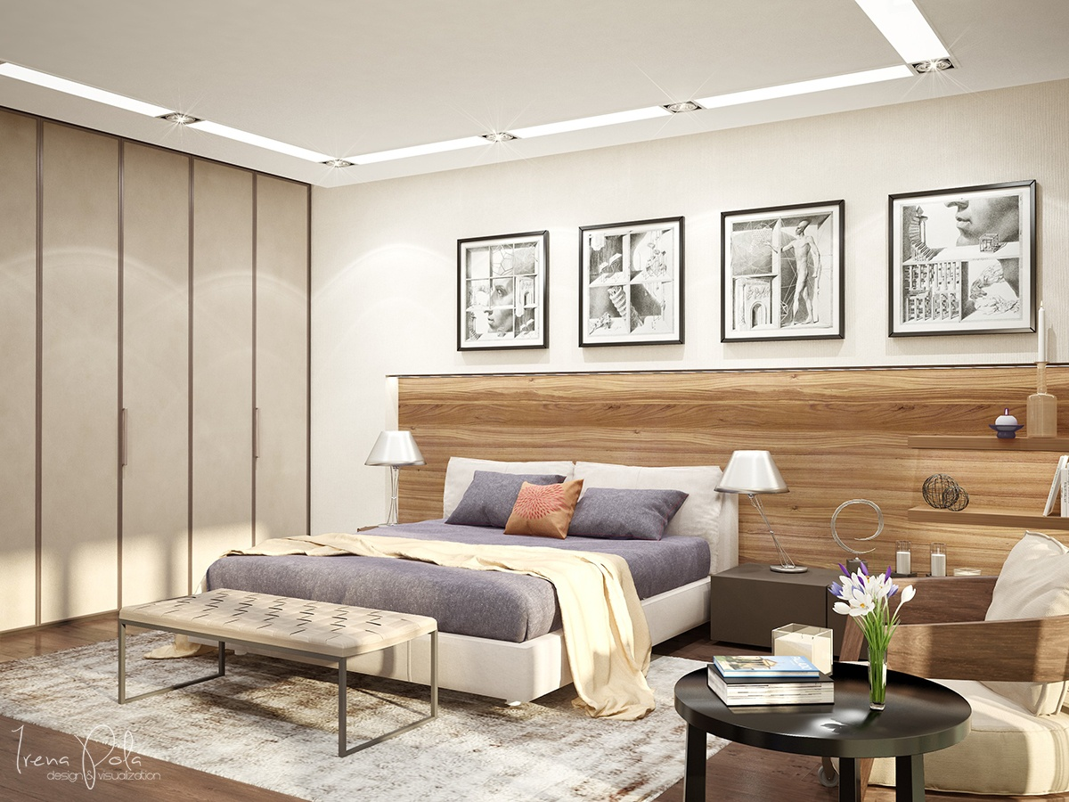 Natural Wood Headboard - Super luxurious apartment in kiev ukraine