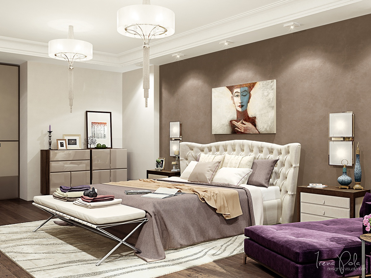 Best ideas of bedroom color combinations purple with for Small neutral bedroom ideas