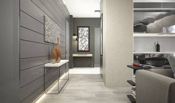 The entryway to this apartment gives the distinct impression of entering a sophisticated lair.