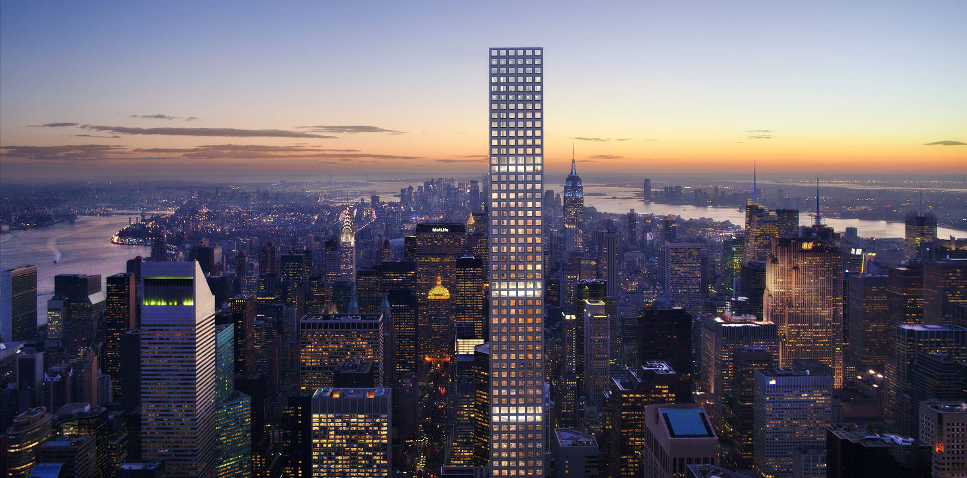 Nighttime Skyline - 432 park avenue the tallest residential building in the western hemisphere