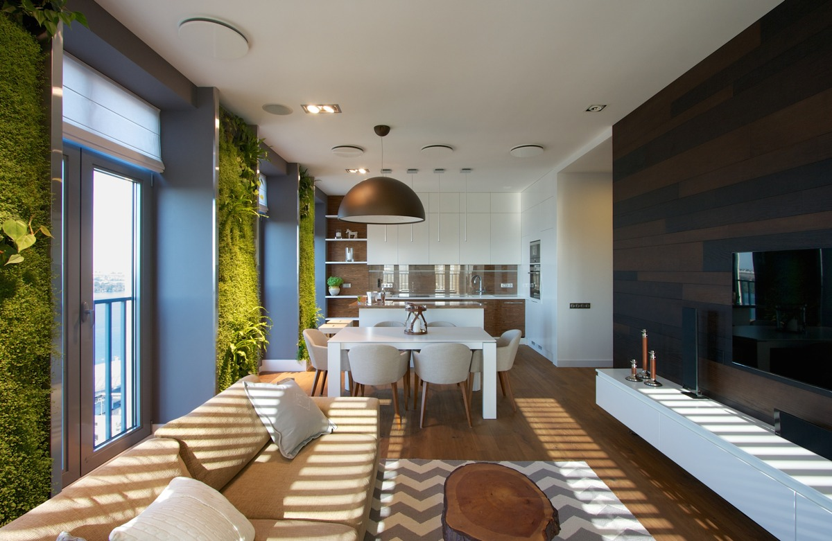 Vertical garden walls add life to apartment interior for Apartment inside