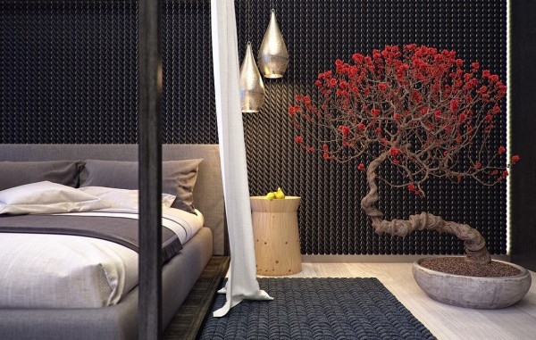 The bedroom also brings in its own nod to nature with a beautiful oversized bonsai tree.