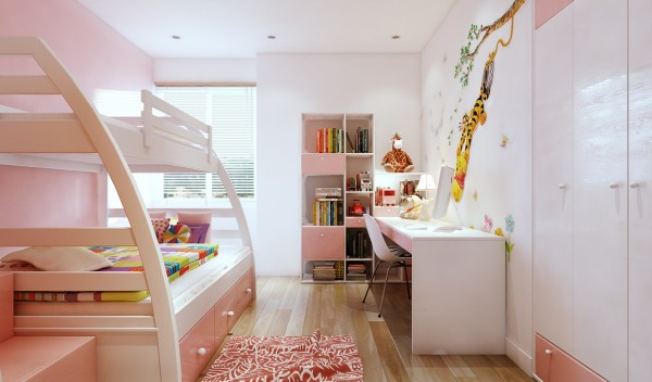 A little girl's room shrouded in pink may seem cliche, but it's actually quite lovely here. The pink feels subtle and genuine instead of overwhelming.