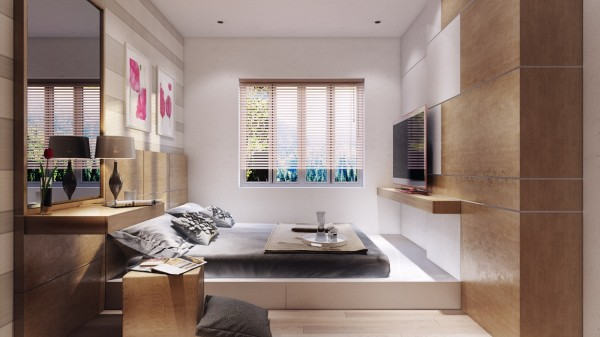 A small bedroom is opened up with sunlight and a simple platform bed.