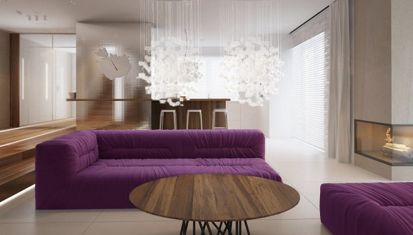 Finally we get to see a sofa fit for Prince himself, upholstered in a deep purple color. Starburst-inspired light fixtures make sure this purple option isn't too overwhelming.