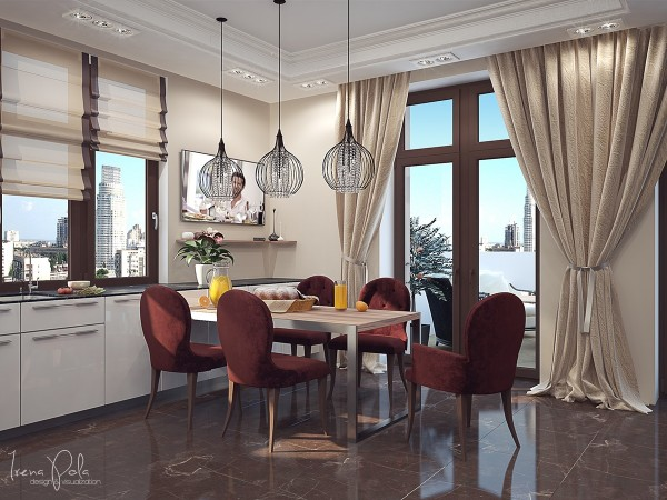 Although it's a half step below the formal dining room, the breakfast table is most stylish and more formal than most homes, with creative light fixtures and wine red chairs.