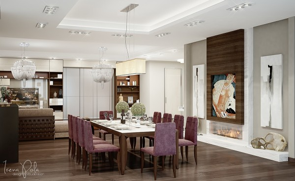 """Of course, anyone with a place this is going to want to show it off with a dinner party or two. It's no mistake that the formal dining room includes purple upholstered seating - because nothing says """"I may as well be royalty"""" like a good dose of deep purple."""