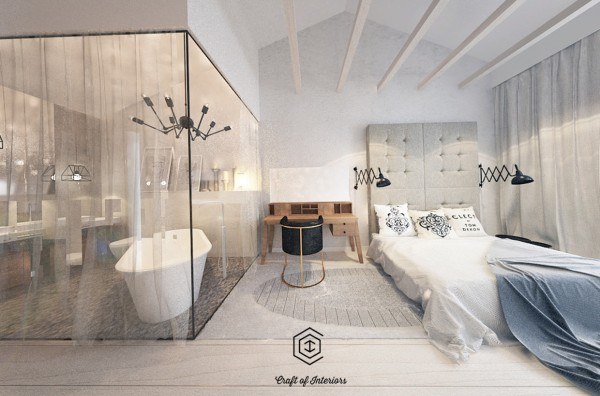 Glass walls in this apartment separate the ensuite bath from the bed that's fit for a princess.
