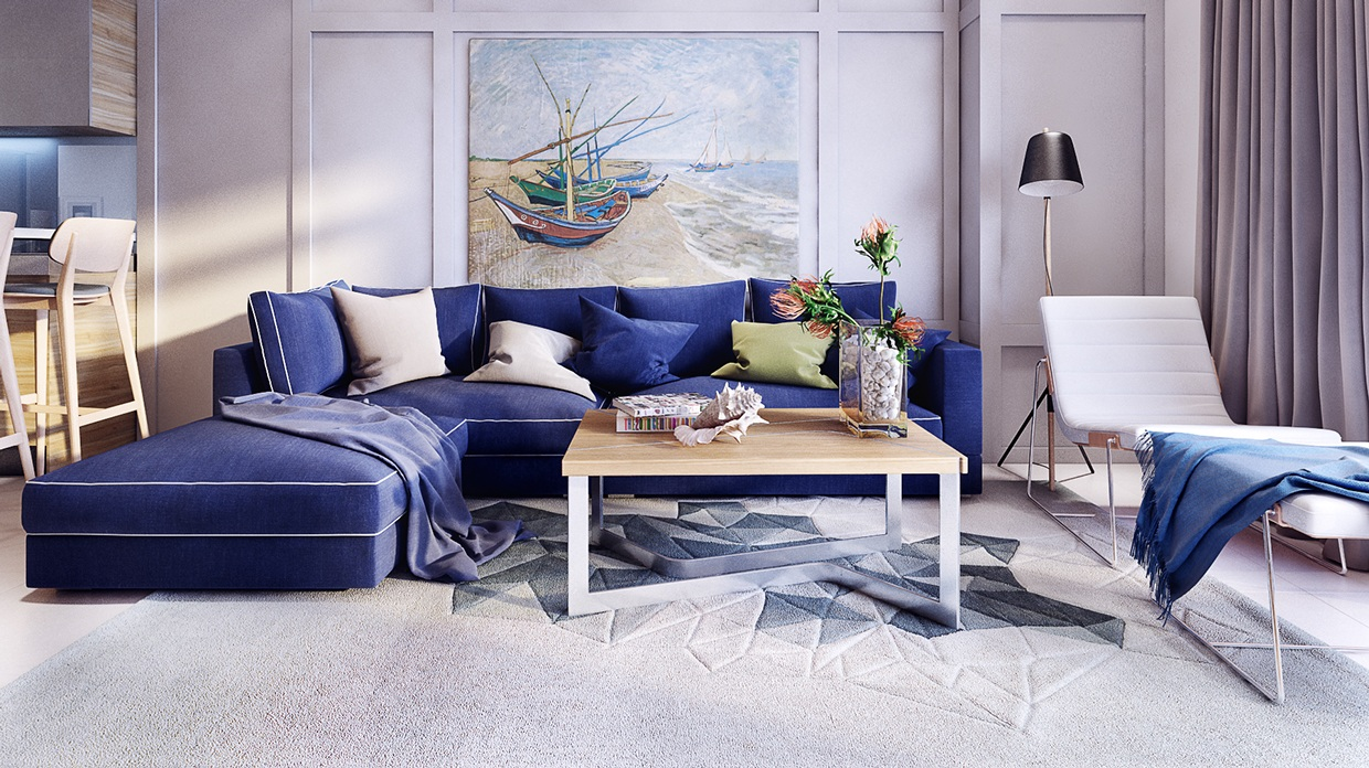 Blue couch colorful living room interior design ideas house design