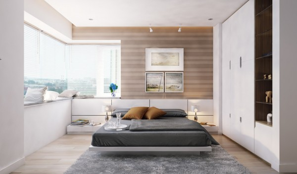 A master bedroom uses neutral colors and takes full advantage of its corner position with a modern window seat to bask in the sun.