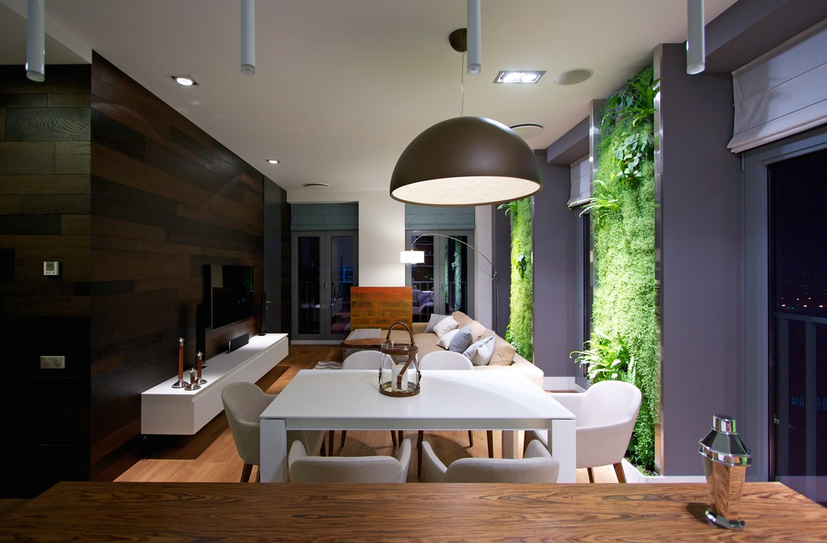 Simple Sleek Apartment Design - Vertical garden walls add life to apartment interior