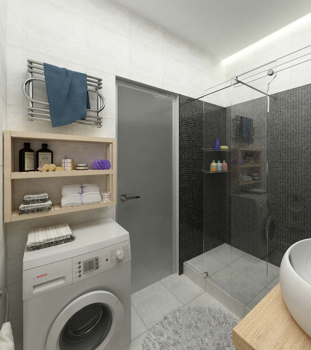 Sleek Bath Design - 2 simple super beautiful studio apartment concepts for a young couple includes floor plans