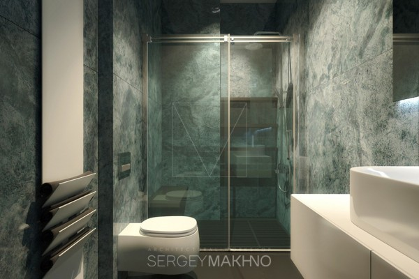 Marble is always elegant and this green bath is no exception, marbled from floor to ceiling.