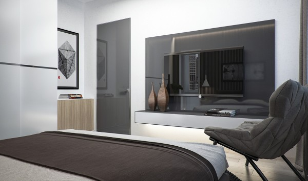 In the third apartment, while gray is still widely utilized, a lighter nearly white version on the walls opens up the space.