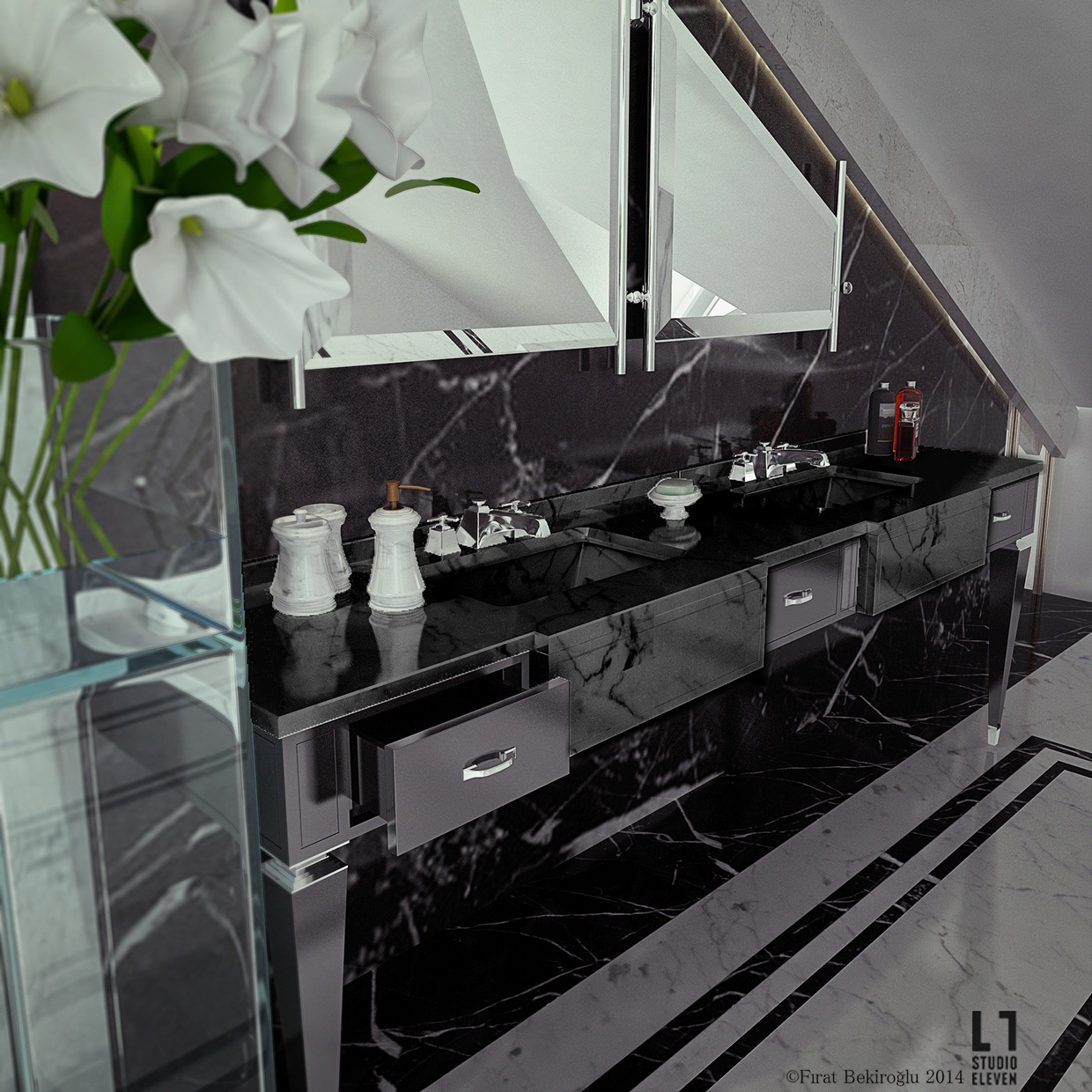 Ultra luxury bathroom inspiration - Black marble bathroom countertops ...