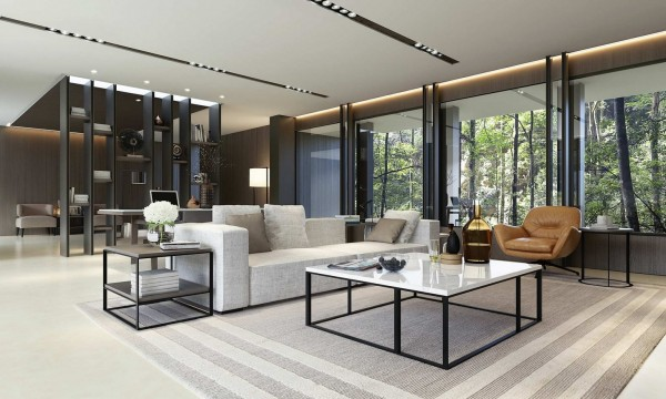 At the end of the day, a living room really just needs a place to sit and a coffee table. This simple living room fills those requirements without much fuss, but with a lot of style.