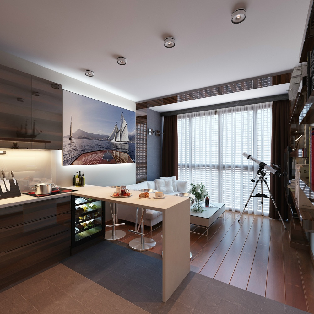 3 distinctly themed apartments under 800 square feet with for Small apartment building designs