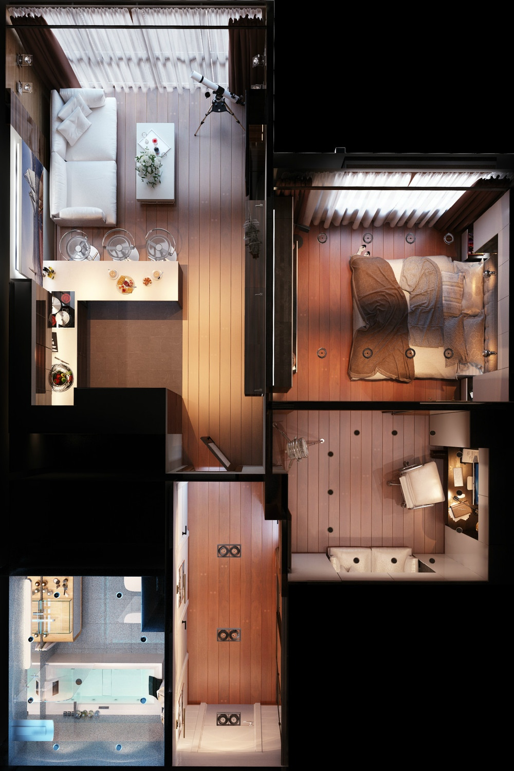3 distinctly themed apartments under 800 square feet with for Studio floor