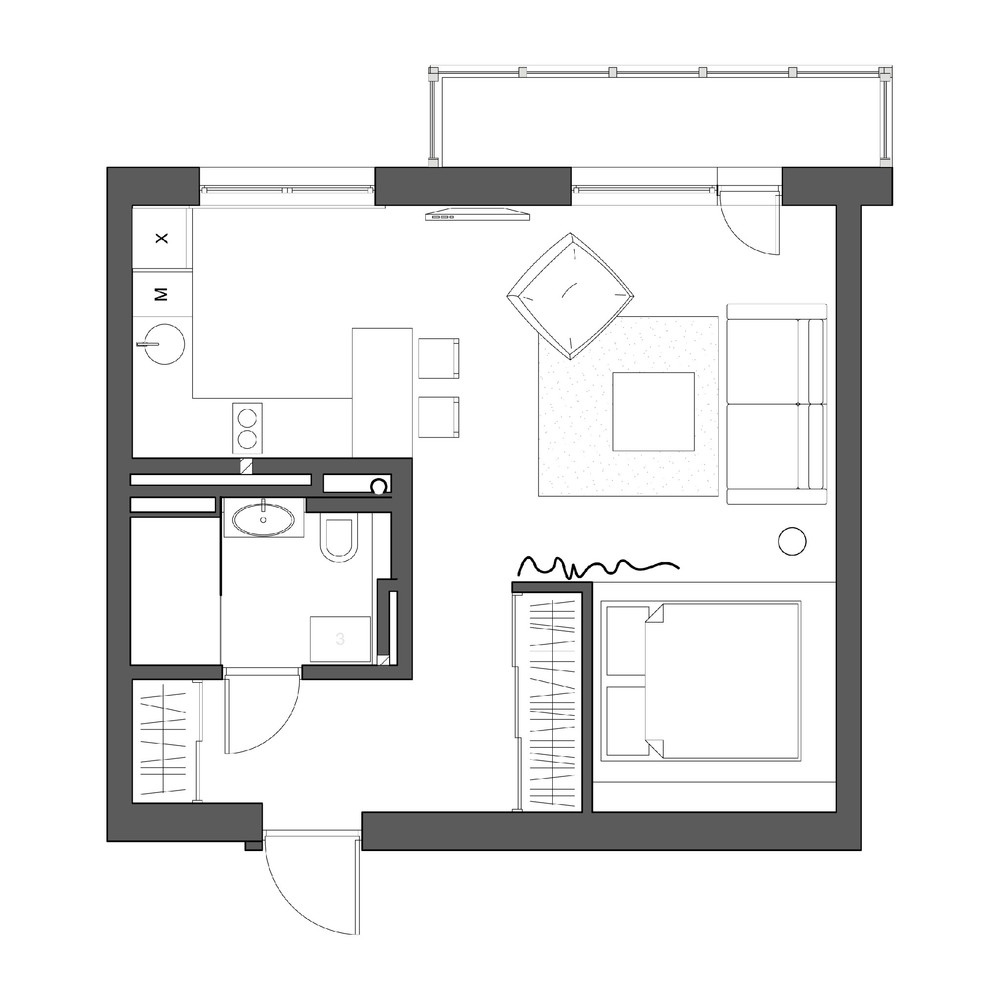 2 simple super beautiful studio apartment concepts for a for Efficiency apartment floor plans