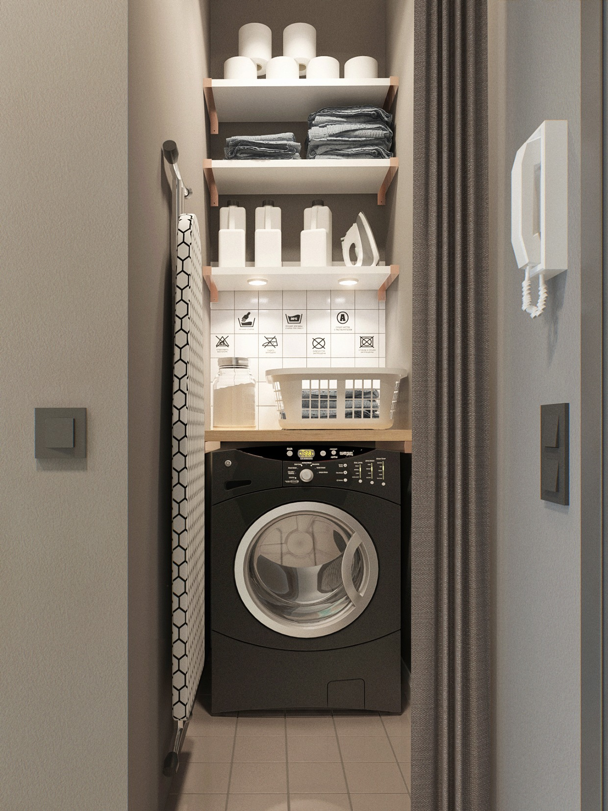 Small Laundry Room - 2 simple super beautiful studio apartment concepts for a young couple includes floor plans