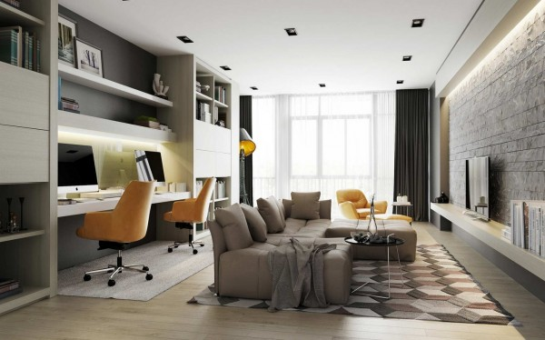 In a small space, a living room may have to take on more than one function. Here we see how a narrow room can be a comfortable seating area and a shared home office.