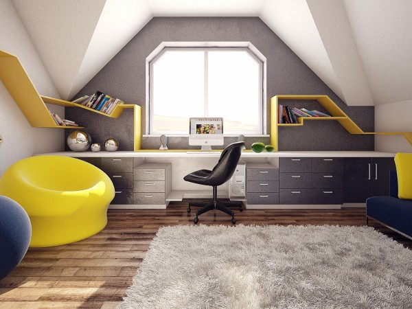 The yellow shelving in particular creates a fun visual thruline.