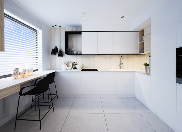 The kitchen is also light and open, with white walls making it feel even more spacious than it is.