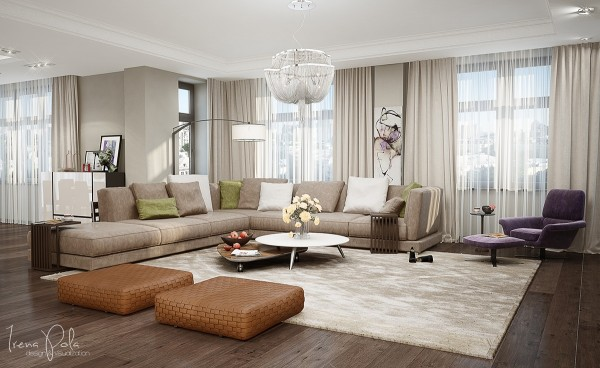 The living room uses a neutral color palette and luscious texture to up the inviting factor. It isn't hard to imagine a lovely lounging lady sprawled out on one of these deep, plush sofas.