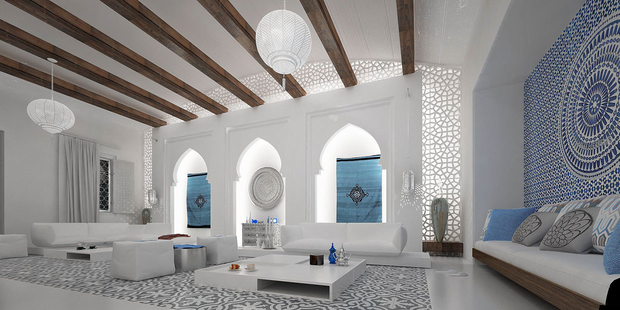 Spacious moroccan living room interior design ideas Moroccan inspired kitchen design